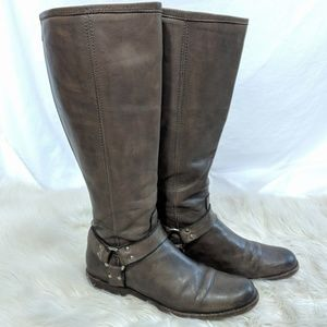 Frye Phillip Harness Tall Boots Gray